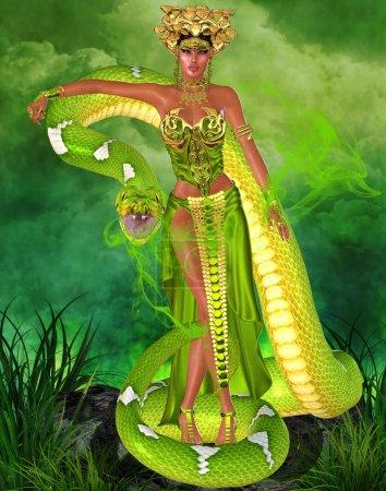 Green snake goddess.