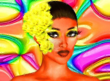 A yellow flower in her hair. This close up face is set against an abstract background of multicolored swirls. Image speaks to fashion, fun, makeup, beauty and health.