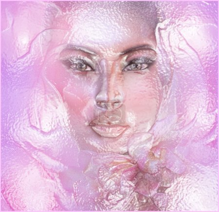 Abstract pink floral with womans face.