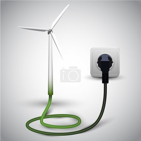 Illustration for Wind turbine with socket, vector - Royalty Free Image