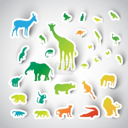Illustration for Zoo sticker animals collection - Royalty Free Image