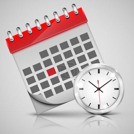 Calendar with a clock