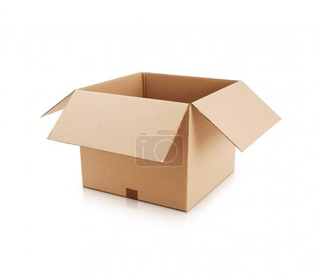 Open cardboard box on white background...