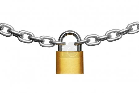 Photo for Padlock and chain isolated on white - Royalty Free Image