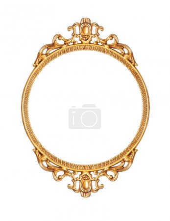 Photo for Golden antique frame isolated on white - Royalty Free Image
