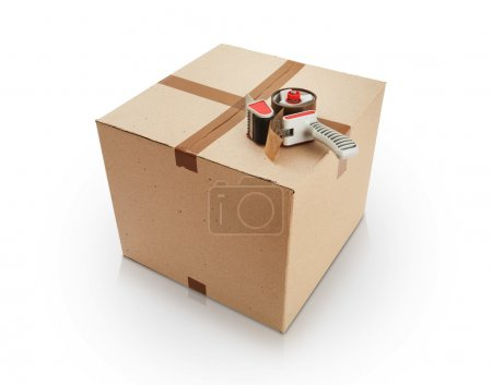 Photo for Cardboard box and packing tape on white background - Royalty Free Image