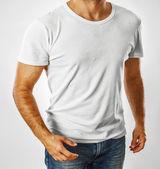 Bílé tričko na šabloně mladý muž