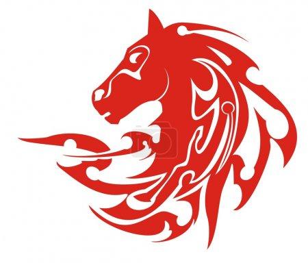 Tribal flaming horse head symbol, vector