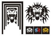 Tribal frightening lion head with an open mouth ready for a tattoo graphics on the vehicle also for labels stickers and T-shirt designs