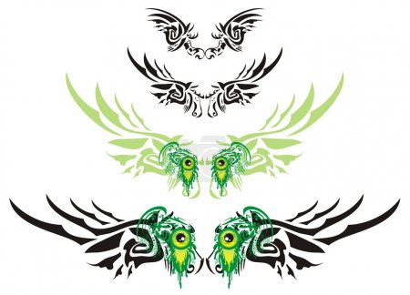 Illustration for Wings in the form of the horse head and green monster eyes. This decorative element can be used as a tattoo, also as design on T-shirts, etc. - Royalty Free Image