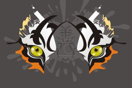 Photo pour Masque de carnaval d'un tigre amur yeux sur un fond gris pour les célébrations et les événements de la vie - image libre de droit