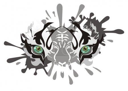 Photo pour Masque de carnaval d'un oeil de tigre blanc pour les célébrations et les événements de la vie - image libre de droit