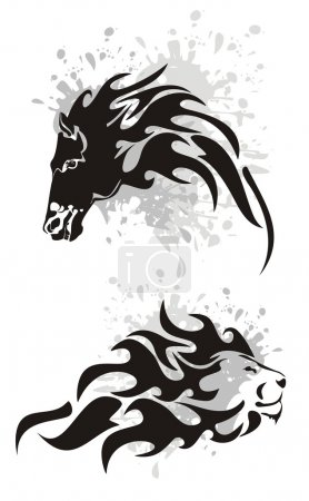 Illustration for Tribal black horse and lion heads symbols with splashes on a white background - Royalty Free Image