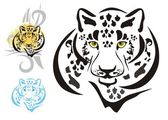 Tribal leopards heads symbols ready for a tattoo graphics on the vehicle also for labels stickers and emblems T-shirt designs