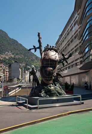 Clock monument by Salvador Dali in Andorra la Vell...