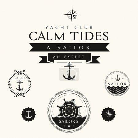 Photo pour Collection d'étiquettes et de badges nautiques vintage - image libre de droit