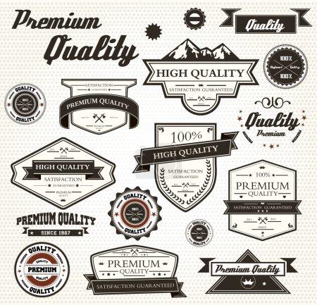 Ilustración de Etiquetas de calidad Premium con diseño retro - eps10 compatibilidad requerida - Imagen libre de derechos
