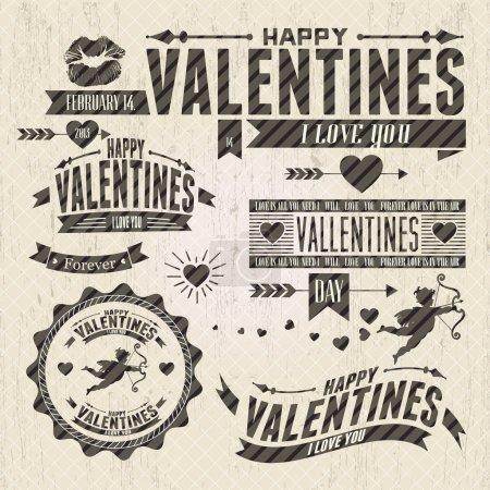 Illustration pour Éléments de design vintage Valentine s jour avec ornements, coeurs, rubans, - image libre de droit