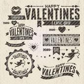Valentine s Day vintage design elements