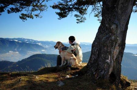 Photo pour Jeune homme assis sous un arbre avec son chien jouissant d'une vue tranquille sur la montagne - image libre de droit