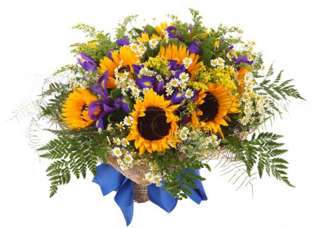 Floral arrangement of sunflowers, daisies, ferns and goldenrod. Flower composition