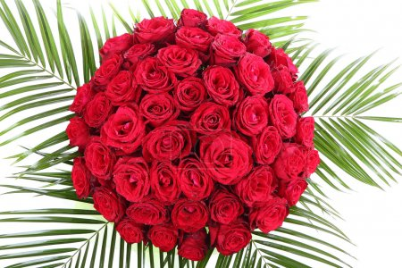 A huge bouquet of red roses. The isolated image on a white background.
