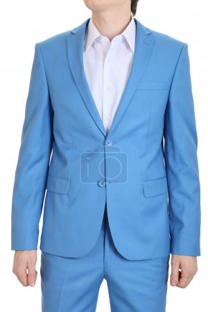 Evening suit, blue. Turquoise suits for men.