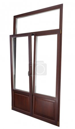 Plastic Double Glazing Window, color dark mahogany, tilted in vertically