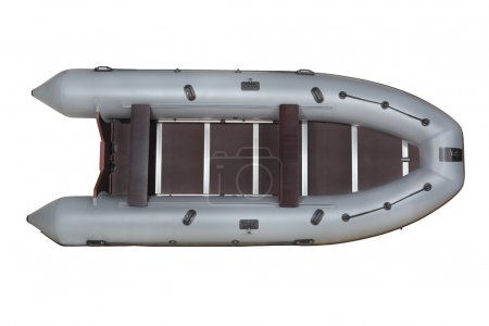 Gray, inflatable boat pvc, top view, isolated on white.
