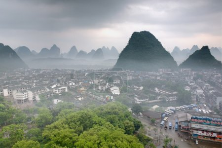 Cityscape in Southeast Asia, Yangshuo town, top view, karst hill