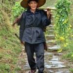 Постер, плакат: Rural elderly Asian man peasant farmer in China wicker hat