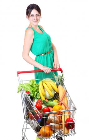 Grocery Cart Full of Vegetables, supermarket trolleys,  isolated on white background