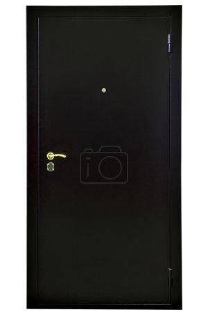 Puerta de seguridad de acero negro, sobre fondo blanco .
