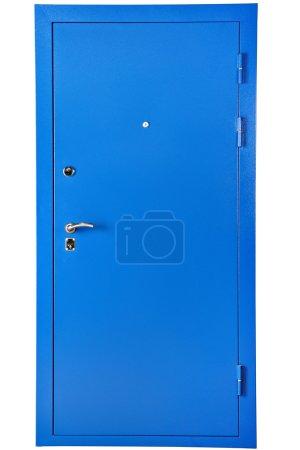 Puerta de seguridad de acero azul, aislada sobre fondo blanco .
