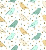 Green-yellow seamless pattern with birds