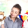 Happy child with hand puppets...