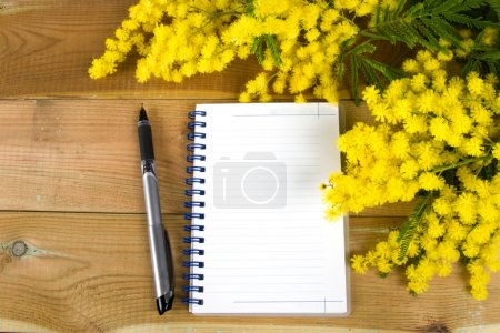 Photo for Notepad and pen on wood - Royalty Free Image