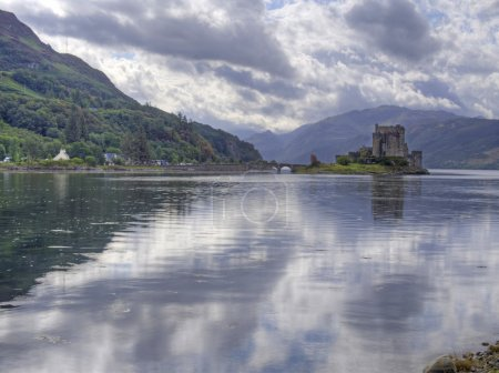 Eilean donan castle in scotland with reflection...