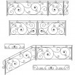 Vector set: wrought iron stairs railing, fence and...