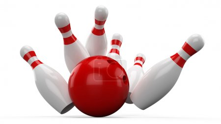3D Bowling ball crashing into the pins...