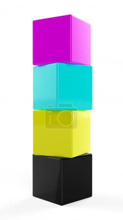 3d render of cmyk cubes on white background