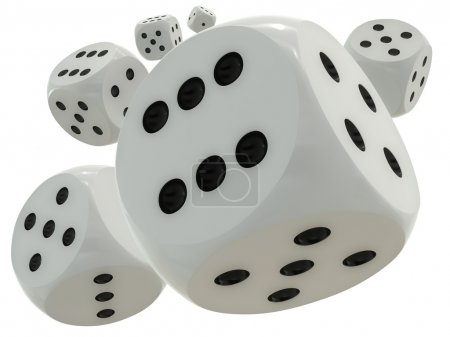 3D rendering of a standard dices flying in mid-air