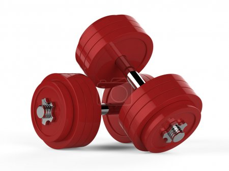 Photo for 3d illustration of two red dumbbells over white background - Royalty Free Image