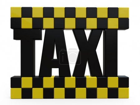 3D Taxi sign on white background