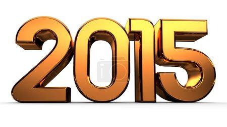 3D happy new year golden 2015