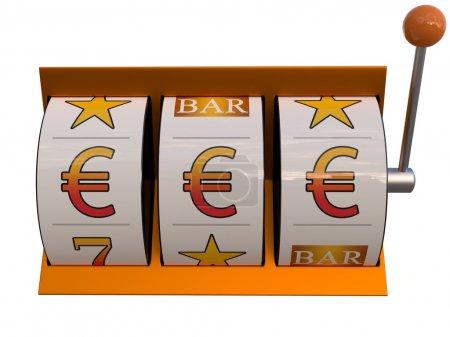 Photo pour Illustration 3d de machine à sous avec le jackpot de symbole d'euro - image libre de droit