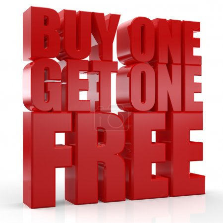 3D Buy one Get one Free text