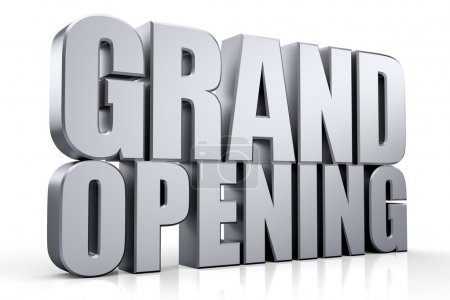 Photo for 3D Grand Opening text on white background - Royalty Free Image