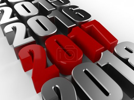Photo pour 3D heureux nouvel an rouge 2017 isolé sur blanc - image libre de droit