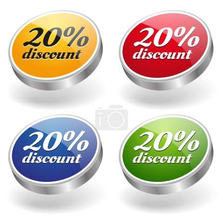 20 percent discount buttons set